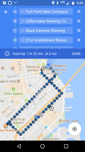 SF Brewery Crawl Map